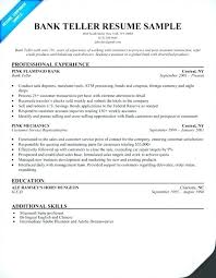 Resume For A Bank Teller Resume For Bank Teller Good Srhnf Info