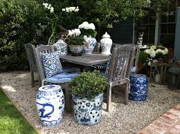 outdoor garden stool. A Set Of Garden Furniture With Blue And White Stools Outdoor Stool H