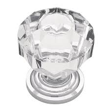Crystal Cabinet Knob Liberty 1 1 4 In Chrome With Clear Faceted Acrylic Cabinet Knob
