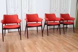 orange reupholstered mid century modern walnut dining orange dining room chair cushions