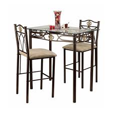 crown 3 piece glass top counter height pub table set bar 3 piece kitchen table set