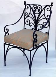 rod iron furniture design. retro style wrought iron furniture vintage chair with a cushion rod design
