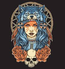 Native American <b>girl with Wolf headdress</b> full color. , #Sponsored ...