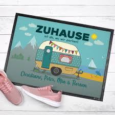 Camping Fußmatte Mit Wohnwagen Und Wunschtext