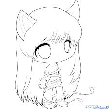 Coloring Pages Cute Anime Cat Coloring Pages Page Girl Download
