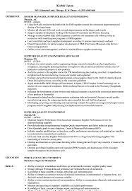 Resume Format For Quality Engineer Supplier Quality Engineering Resume Samples Velvet Jobs