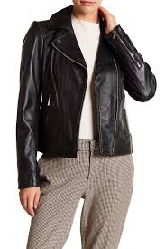 image of michael michael kors asymmetrical leather moto jacket
