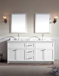 ariel hamlet 73 double sink vanity set with white quartz countertop in white