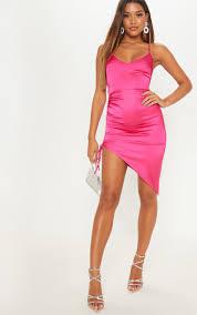 hot pink satin ruched lace up back midi dress image 1