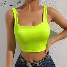 <b>Simenual</b> Square collar strap top <b>neon</b> green sexy sleeveless <b>crop</b> ...