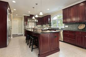 dark wood kitchen cabinets. Another Example Of Cherry Wood Really Standing Out In A Lighter Hued Kitchen . Dark Cabinets K