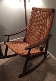 danish mid century rope chair hans wegner style rocking chair made in yugoslavia