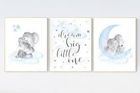 There's no need to deal with the hassle of wallpaper, paint or stencils when you can easily apply and reposition printed, patterned, blue or pink walls decals effortlessly. Nursery Decor Boy Elephant Nursery Wall Art Elephant Baby Room Decor Boy Dream Big Little One Elephant Nursery Art Baby Boy Nursery Art