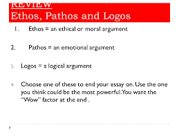 persuasive essay body and conclusion ppt video online  review ethos pathos and logos