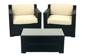 3 piece black resin wicker outdoor patio furniture set beige cushions image 1 zoomed image