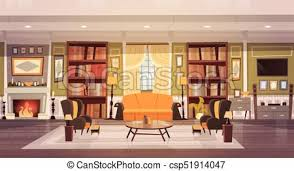 cozy living room with fireplace. Cozy Living Room Interior Design With Furniture, Sofa, Table Armchairs, Fireplace Bookcase,