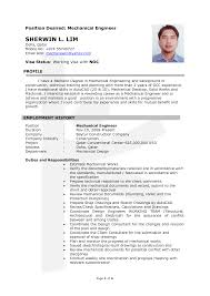 Sample Resume Of A Mechanical Engineer Resume For Your Job