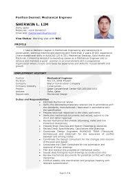 Resume Sample For Mechanical Engineer Resume For Your Job