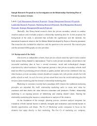 Research Proposal On An Investigation On The Relationship Marketing P