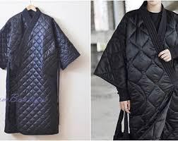 Quilted kimono | Etsy & Winter V-Collar Three-quarter Sleeve Kimono /Bandage Padded Coat Quilted  Overlong Coat Adamdwight.com