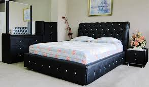 Black Leather Bed Queen Size Diamond