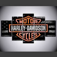 motor harley davidson cycles 5 piece canvas art wall art picture home decor 24 70 179 55