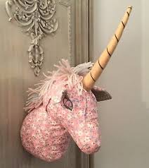 fabric magical unicorn wall bust head pink ditsy fl children s bedroom