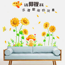 beautiful scenery view sunflower wall stickers home decor living room bedroom cartoon pvc wall decals diy