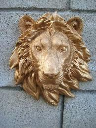 lion head wall mount gold safari lion head wall mount statue decoration cabin log decor