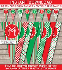 Merry Christmas Banner Print Christmas Banner Template Merry Christmas Banner Editable Bunting