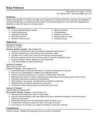 Satellite TV Installer Resume Sample