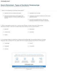 habitat and niche activity sheet answers quiz worksheet types of symbiotic relationships study com