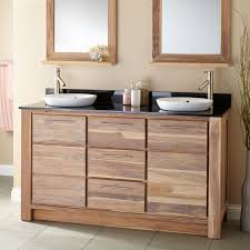 Teak Vanity Bathroom 60 Venica Teak Double Vanity For Semi Recessed Sinks Whitewash