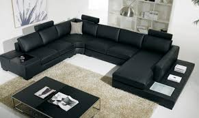 vig divani casa t35 black faux leather sectional sofa with light ultra modern