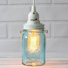 water blue glass mason jar pendant light kit regular mouth white cord 15ft