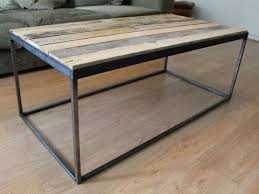 steel coffee table effective rustic wood