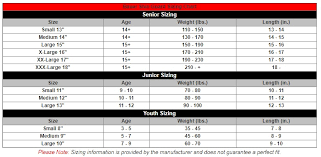 Goalie Pad Sizing Chart By Height Goalie Stick Paddle Size Chart 2019