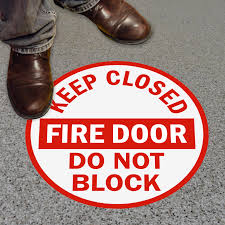 adhesive vinyl floor signs keep closed fire door do not block sku sf 0053