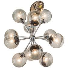 midcentury chrome and smoked bubble glass sputnik chandelier by
