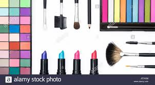 top view makeup hero header on white background stock image