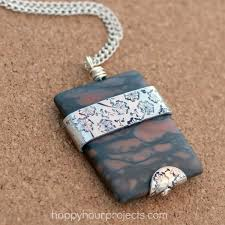 stamped metal wrapped stone pendant at happyhourprojects com
