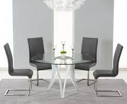 excellent bellevue 130cm round gl dining table with 4 malibu grey leather grey leather