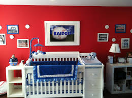 Red and blue personalized baseball nursery for baby Kaiden