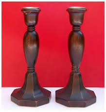 great pair vintage wooden candlesticks