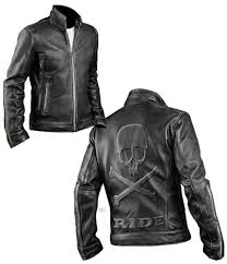 men s cafe racer biker distressed leather jacket with embossed skull and bones