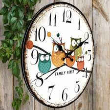 office wall clock. wall clock owl vintage rustic shabby home office