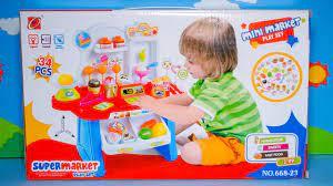 Bộ đồ chơi ngôi nhà búp bê cho bé gái - Mở hộp bộ đồ chơi siêu thị thu nhỏ  và chơi cùng bé - YouTube