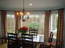 White Bay Window With Curtain And Dining Table Also Chairs Also Chandelier  Also Recessed Light In ...