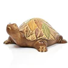 krishna s asian arts wooden turtle sculpture home decoration brown