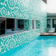 outdoor mosaic tile wall glass square flower carpet by carlo dal bianco